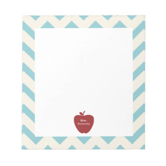 Red Apple Light Blue Chevron Teacher Notepad