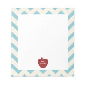 Red Apple Light Blue Chevron Teacher Memo Notepads