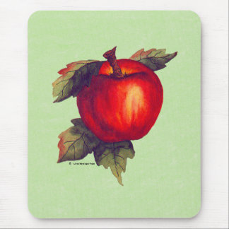Red Apple Light Green Mouse Pad
