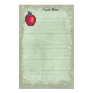 Red Apple Light Green Stationery