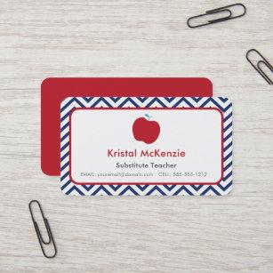 Substitute teacher business cards zazzle red apple navy chevron teacher business cards colourmoves