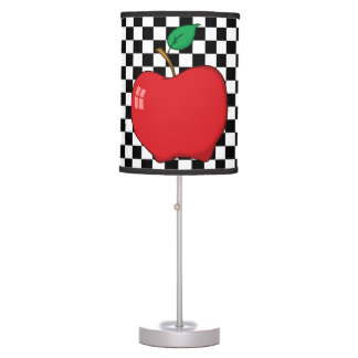 Red Apple on Black and White Checkerboard Desk Lamp