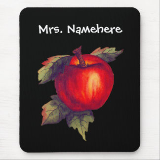 Red Apple on Black Mouse Pad