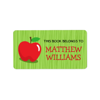 Red apple on green background bookplate book address label