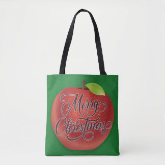 Red Apple on Green Merry Christmas Tote