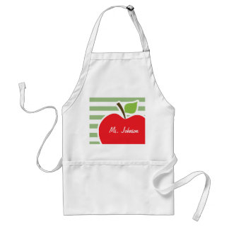 Red Apple on Laurel Green Horizontal Stripes Adult Apron