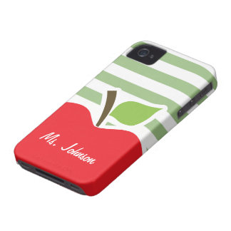 Red Apple on Laurel Green Horizontal Stripes Case-Mate iPhone 4 Cases