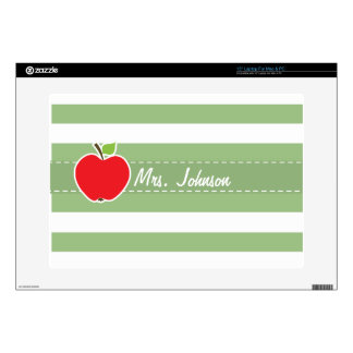 Red Apple on Laurel Green Horizontal Stripes Laptop Decal