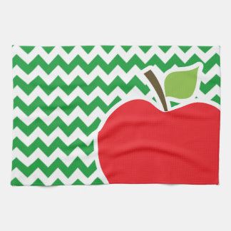 Red Apple on Retro Kelly Green Chevron Stripes Hand Towel