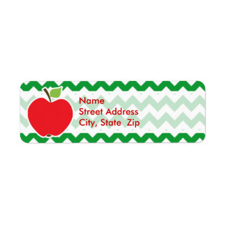 Red Apple on Retro Kelly Green Chevron Stripes Label
