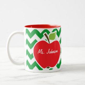 Red Apple on Retro Kelly Green Chevron Stripes Coffee Mug