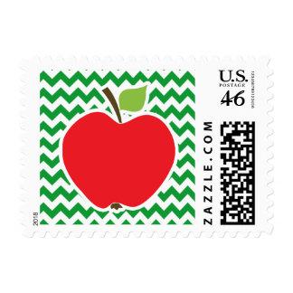 Red Apple on Retro Kelly Green Chevron Stripes Stamp