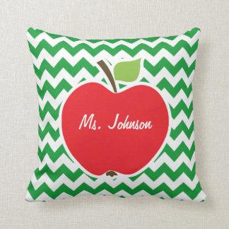 Red Apple on Retro Kelly Green Chevron Stripes Throw Pillow