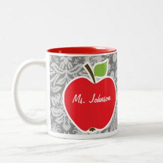 Red Apple on Vintage Gray Damask Pattern Mugs