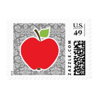 Red Apple on Vintage Gray Damask Pattern Stamps