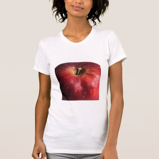 Red Apple on White T-Shirt