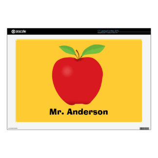 """Red Apple on Yellow background and personalized 17"""" Laptop Decals"""