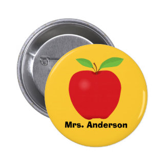 Red Apple on Yellow background and personalized Buttons