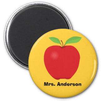 Red Apple on Yellow background and personalized 2 Inch Round Magnet