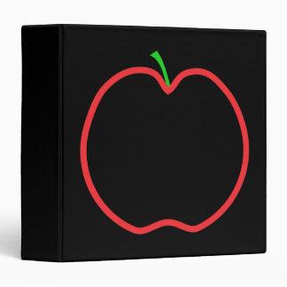 Red Apple Outline. Black center, Green stem. Binder
