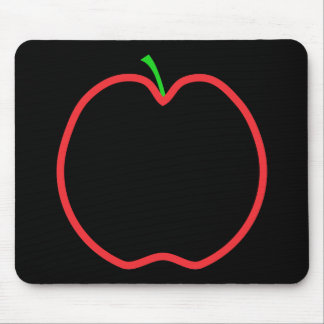 Red Apple Outline. Black center, Green stem. Mouse Pad