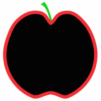 Red Apple Outline. Black center, Green stem. Photo Cutouts
