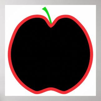 Red Apple Outline. Black center, Green stem. Posters