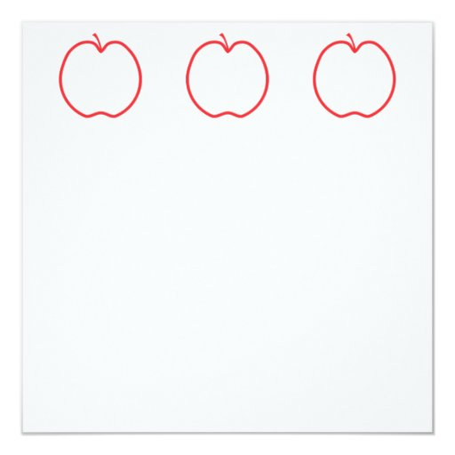 Red Apple Outline. 5.25x5.25 Square Paper Invitation Card