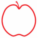 Red Apple Outline, on white background. Photo Sculpture