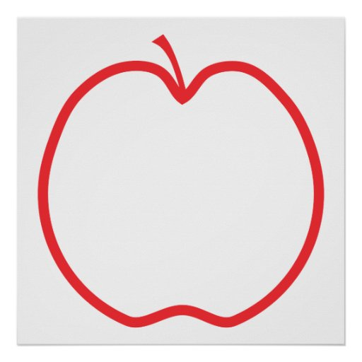 Red Apple Outline, on white background. Poster