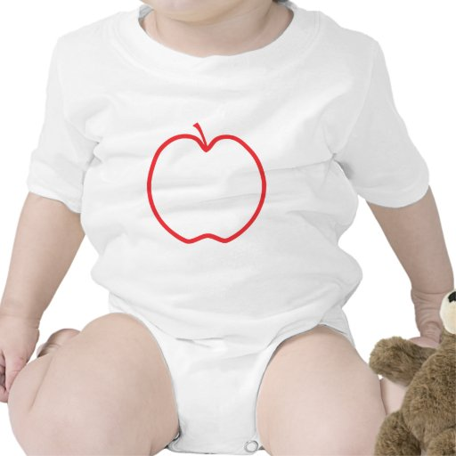 Red Apple Outline, on white background. Baby Creeper