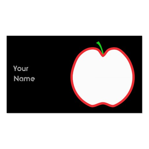 Red Apple Outline. White center, Green stem. Business Card Template