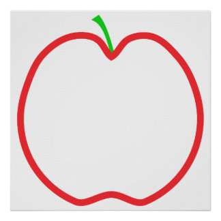 Red Apple Outline. White center, Green stem. Poster