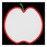 Red Apple Outline. White center, Green stem. Posters