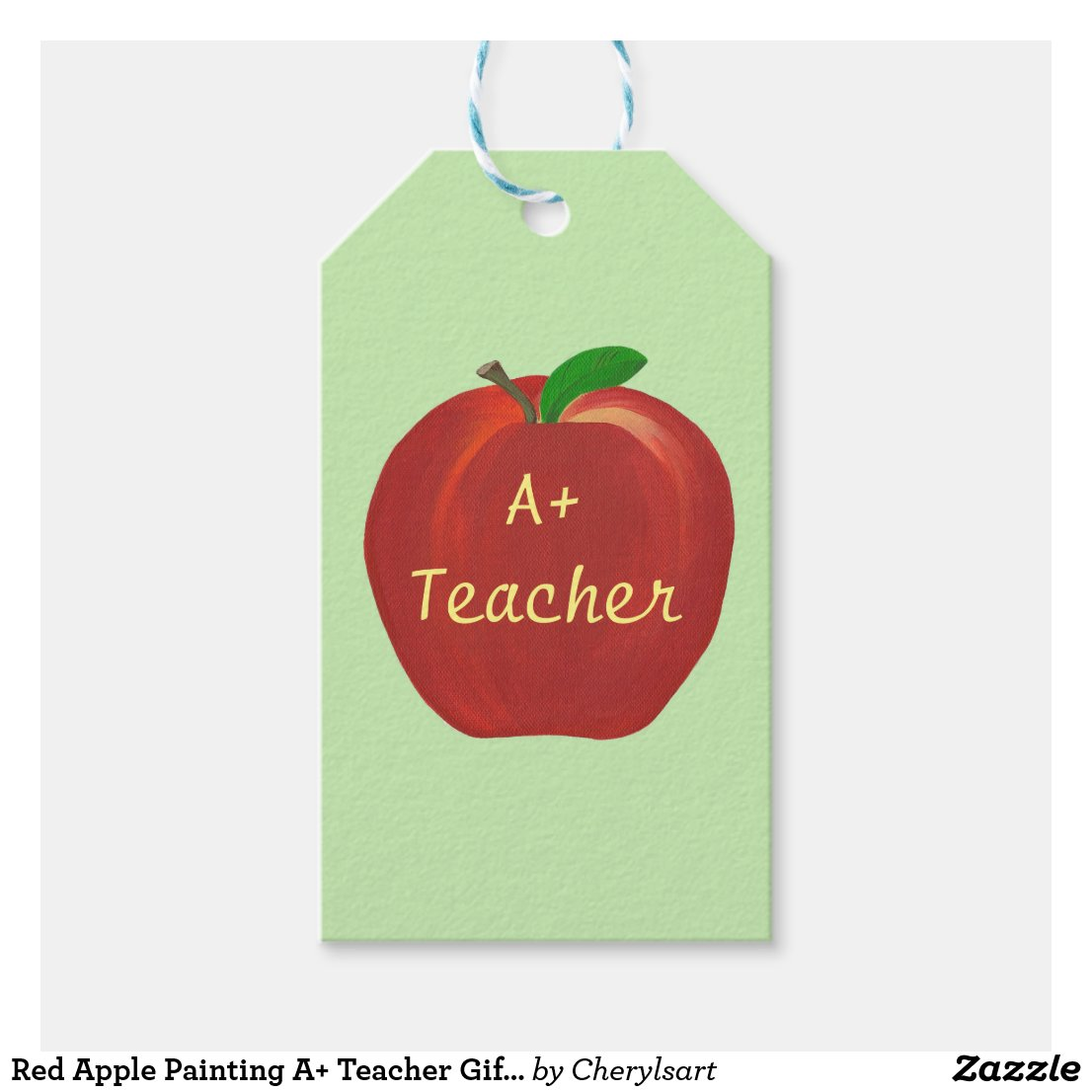 Red Apple Painting A+ Teacher Gift Cards Gift Tags