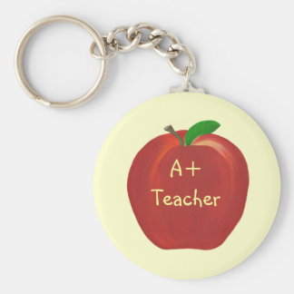 Red Apple Painting, A+ Teacher key chains