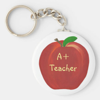 Red Apple Painting, A+ Teacher keychains