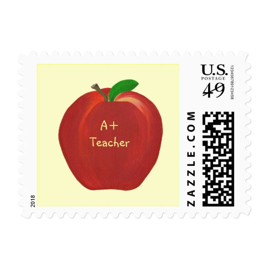 Red Apple Painting, A+ Teacher postage stamps
