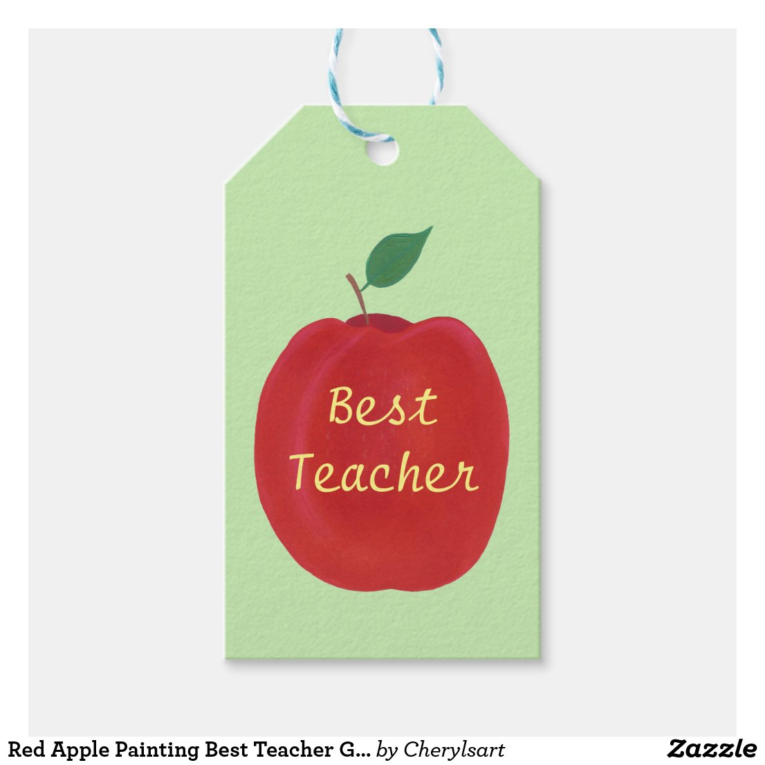 Red Apple Painting Best Teacher Gift Tags