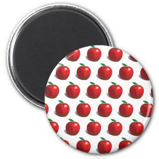 Red Apple Pattern 2 Inch Round Magnet