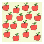 "Red Apple Pattern. 5.25"" Square Invitation Card"