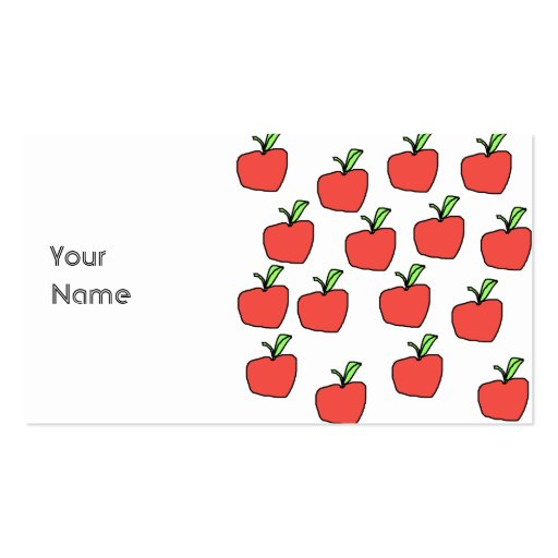 Red Apple Pattern. Business Card Templates