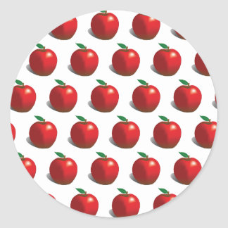 Red Apple Pattern Classic Round Sticker