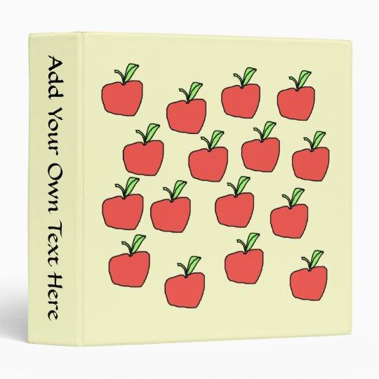 Red apple pattern, on cream. 3 ring binder