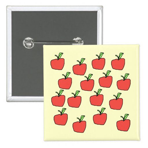 Red apple pattern, on cream. pins
