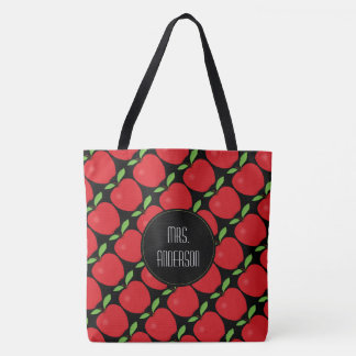 Red Apple Pattern, Personalized Teacher Tote Bag