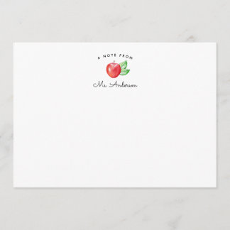 Red Apple | Personalized Teacher Stationery Flat Note Card