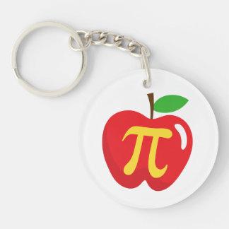 Red apple pie pi symbol keychain