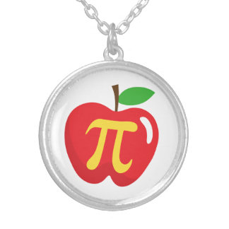Red apple pie pi symbol silver plated necklace