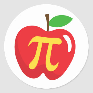 Red apple pie pi symbol classic round sticker